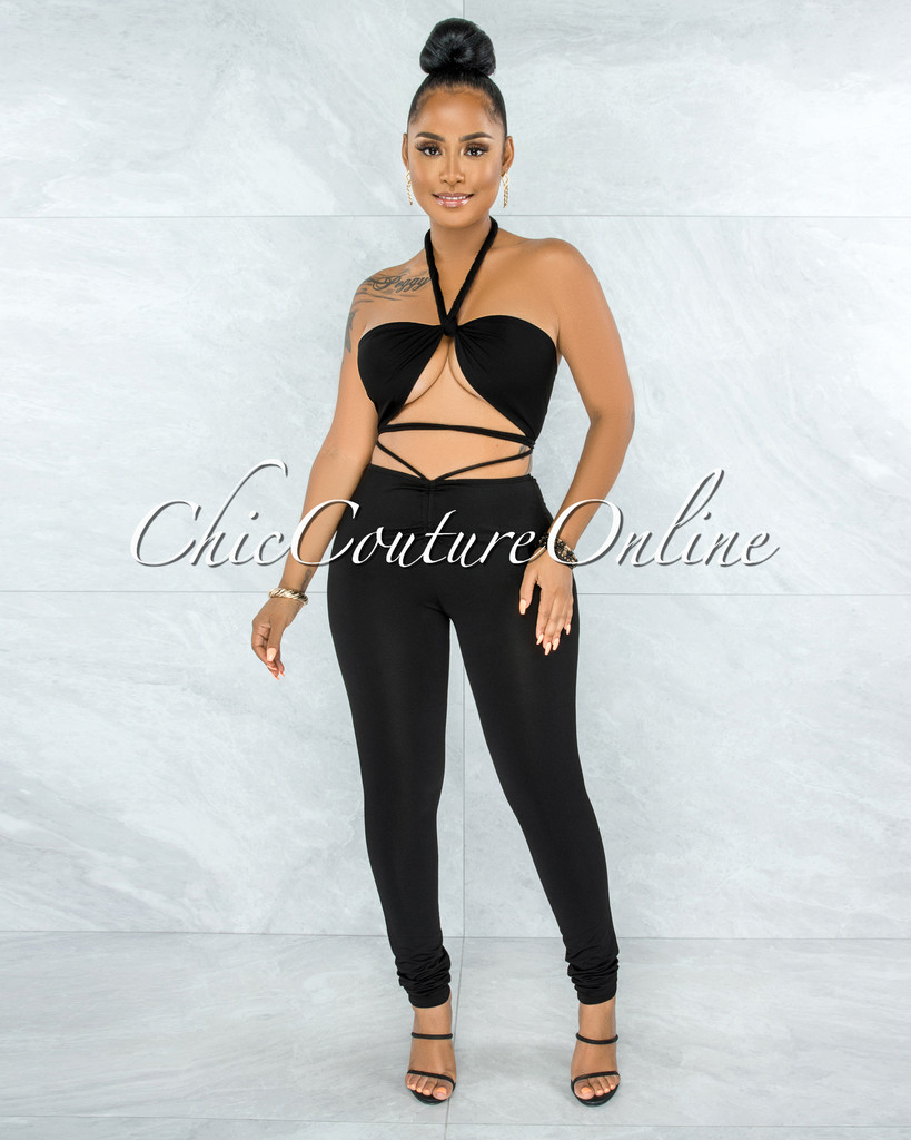 Regina Black Tie Top & Ruched Leggings Multi-Way Set