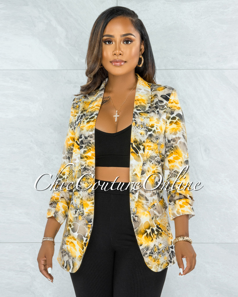 Phoebe Yellow Black Snake Print Boyfriend Long Blazer