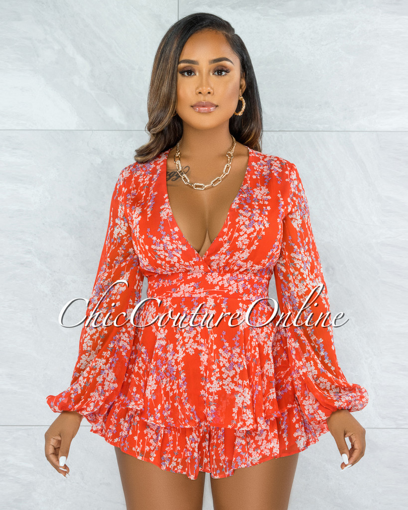 Perica Red Floral Print Long Sleeves Ruffle Romper