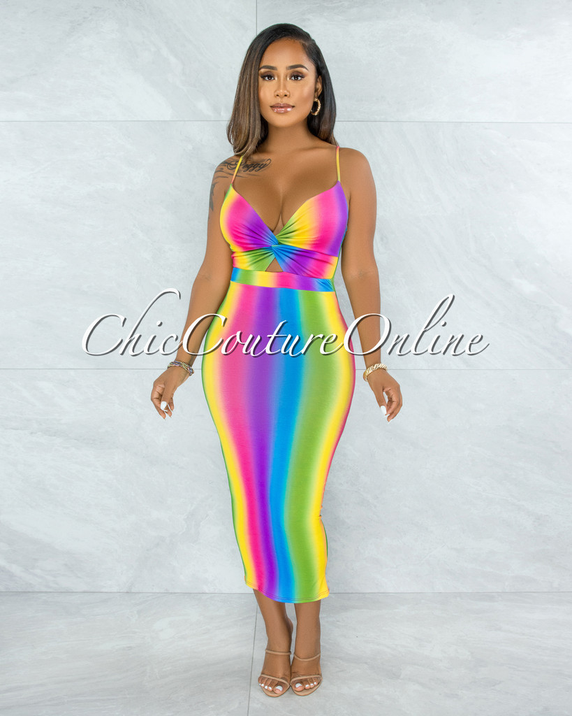 Olaide Rainbow Ombre Front Knot Key-Hole Midi Dress