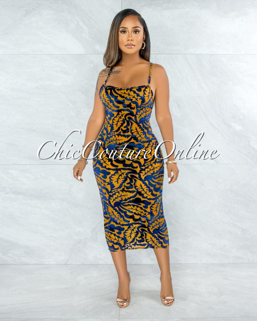 Britt Mustard Blue Velvet Print Sheer Midi Dress