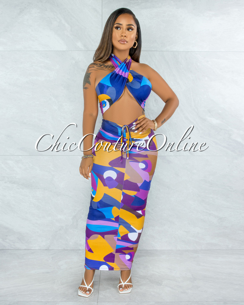 Krenie Purple Mustard Multi-Way Tie Top & Maxi Skirt Set