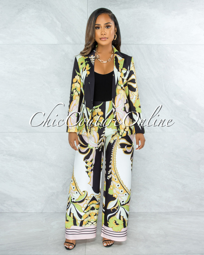 Tyrus Black Green Retro Print Blazer & Pants Set