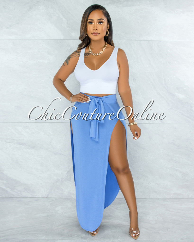 Saraid Periwinkle Front Tie Slits Maxi Skirt