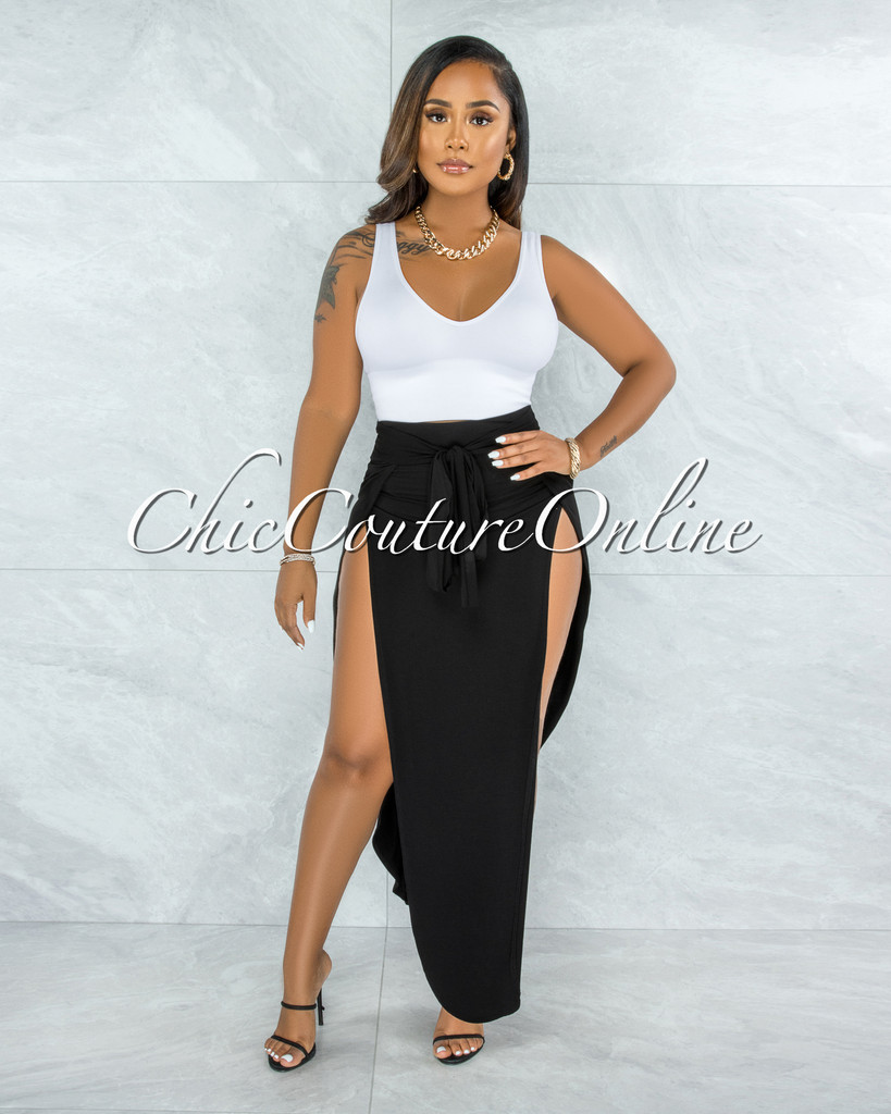 Saraid Black Front Tie Slits Maxi Skirt