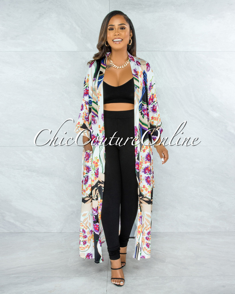 Ethanel Ivory Black Print Satin Luxe Duster
