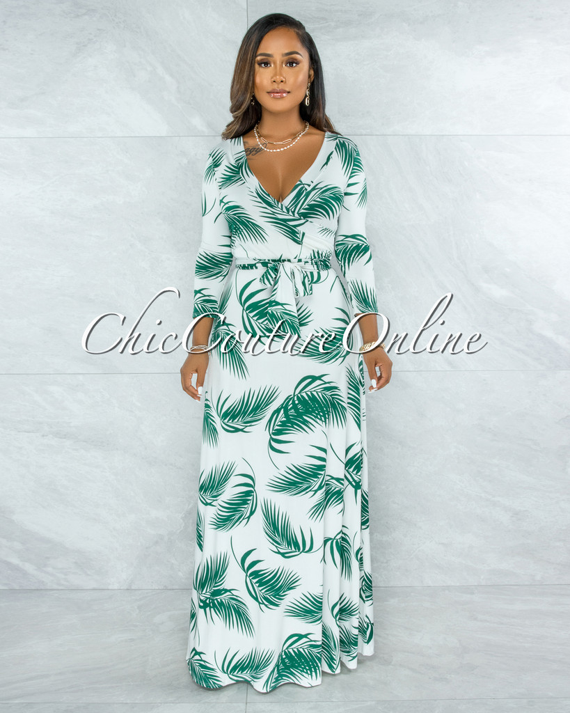 Chiquis Off-White Green Leaf Print Belted Maxi Dress
