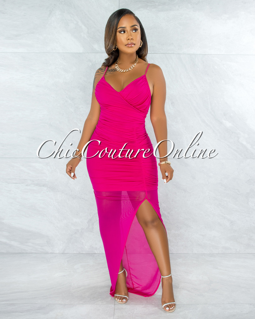 Alaina Fuchsia Mesh Ruched Side Slit Maxi Dress
