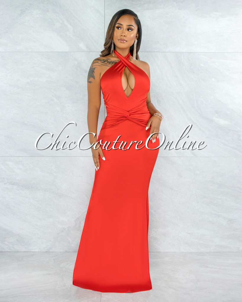 Glenys Red Front Knot Halter Maxi Satin Dress