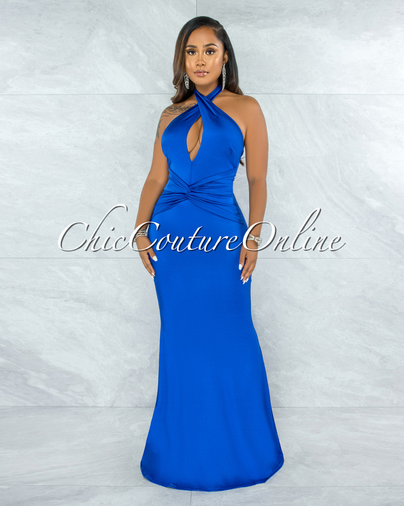 Glenys Royal Blue Front Knot Halter Maxi Satin Dress