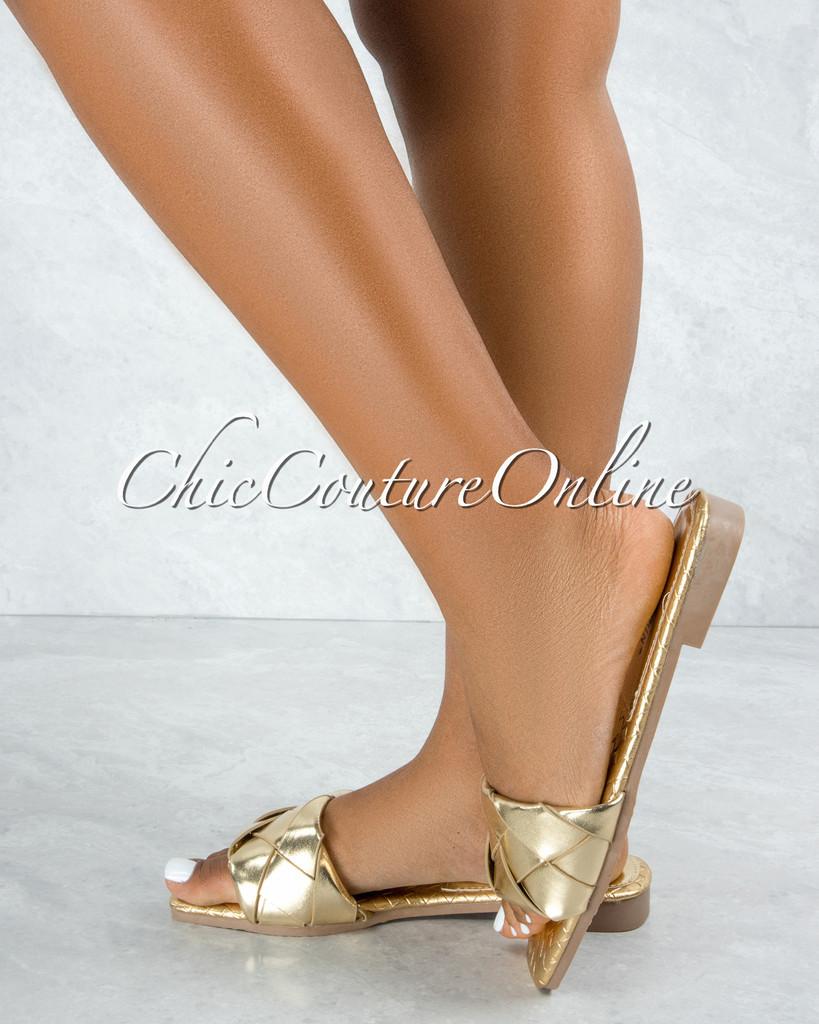 Deja Gold Braided Upper Slides