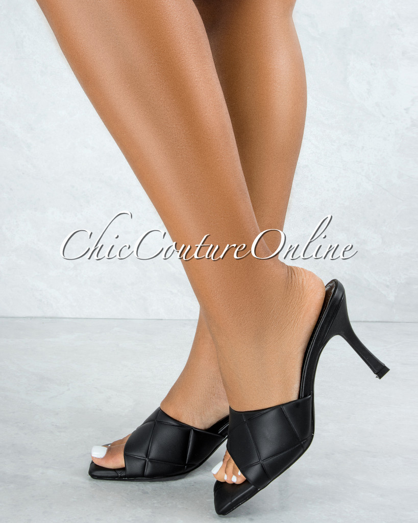 Rolex Black Quilted Upper Square Toe Heels