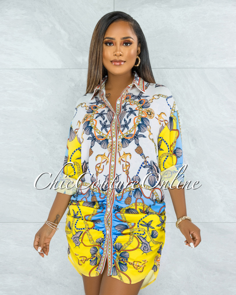 Thordia Ivory Yellow Multi-Color Print Buttons Drape Shirt Dress