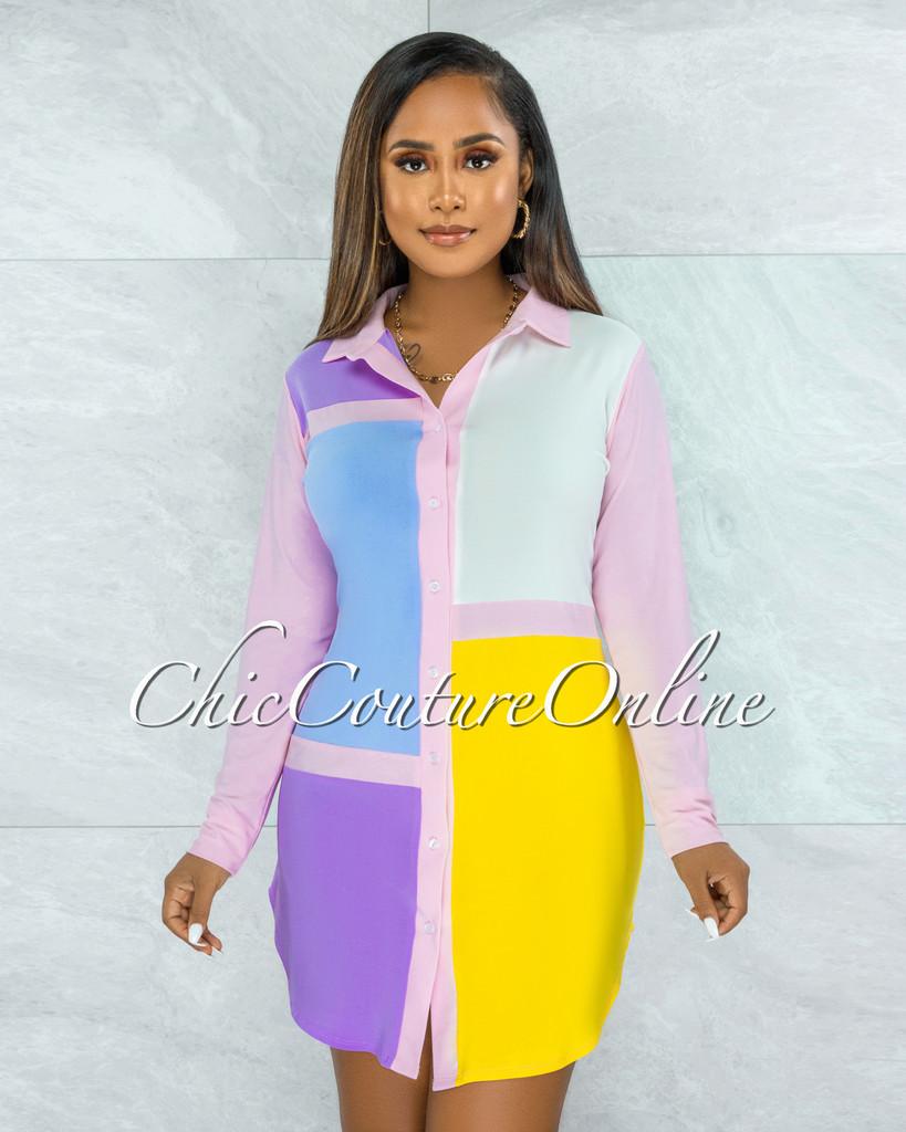 Olidie Pink Blue Retro Block Color Shirt Dress