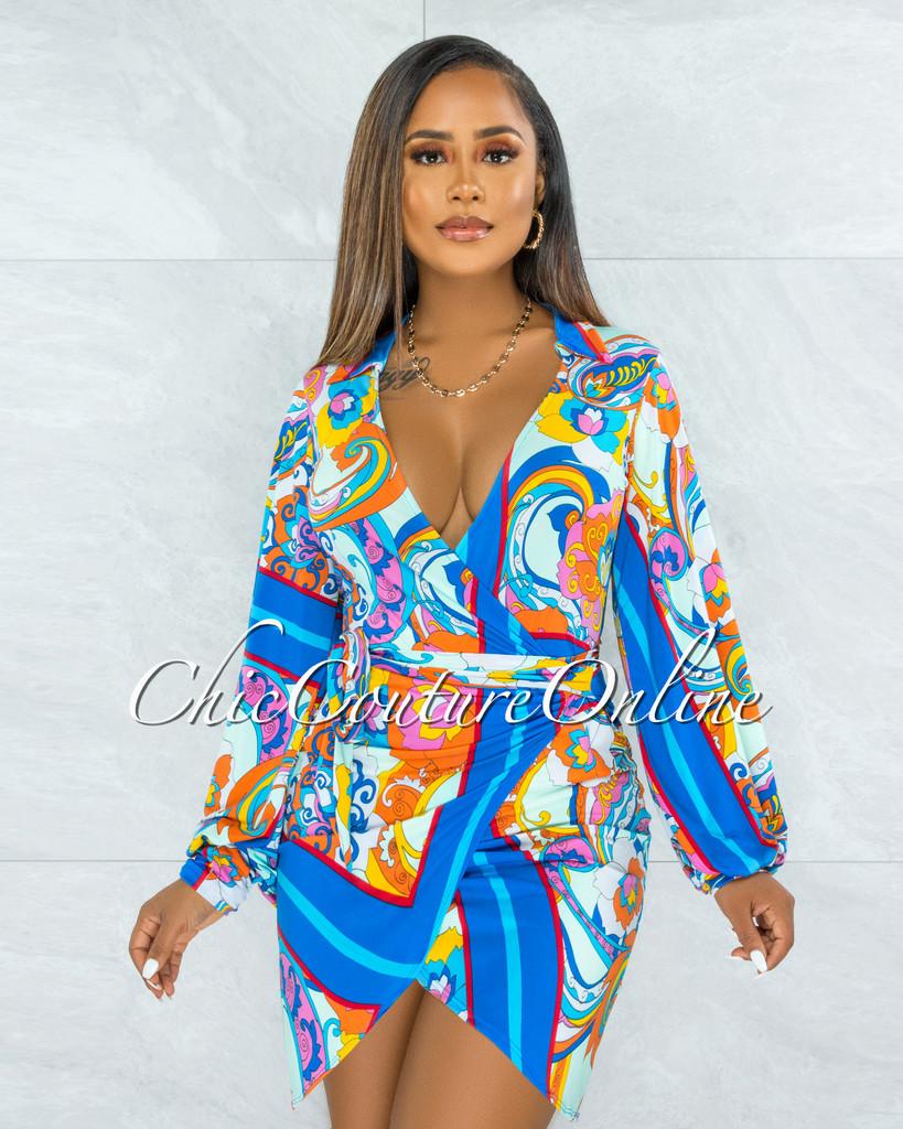 Sentida Turquoise Multi-Color Print Wrap Style Tie Dress