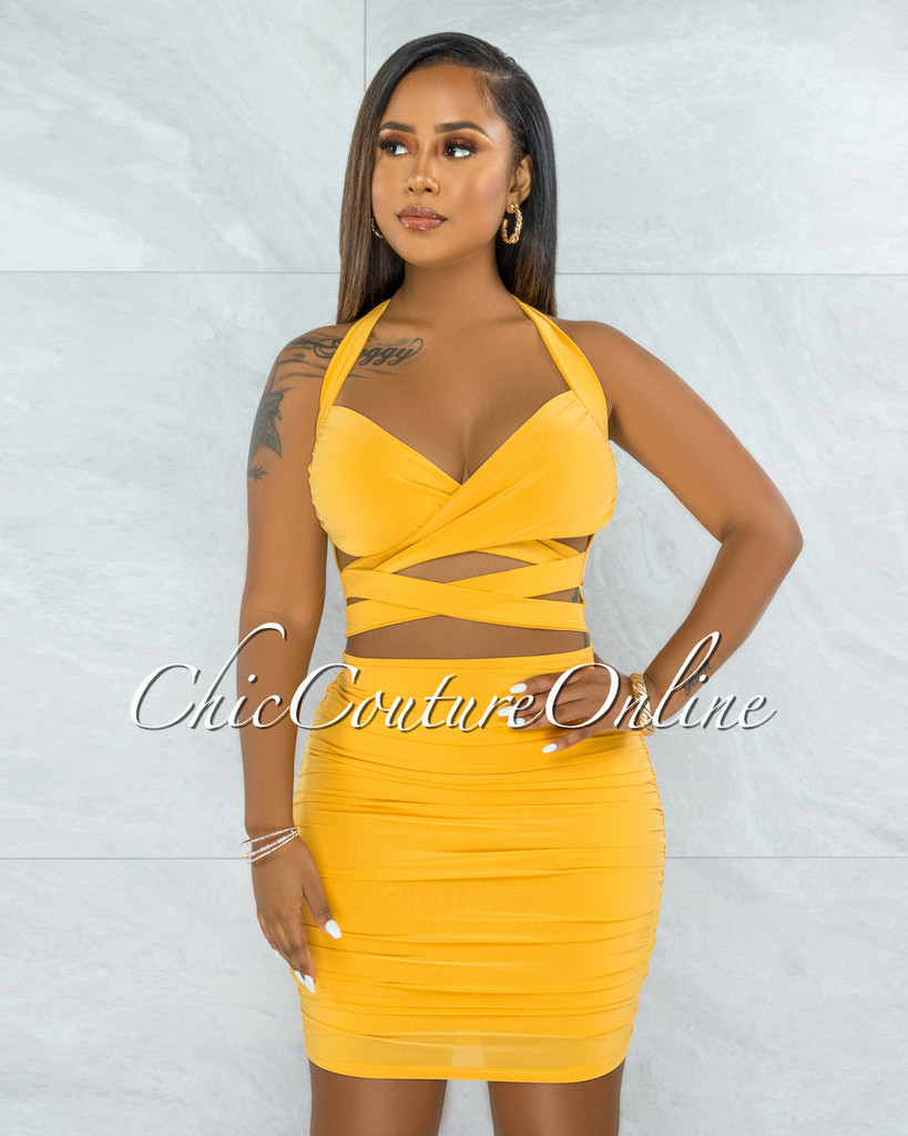 Harsenia Mustard Front Straps Cut-Out Halter Ruched Dress
