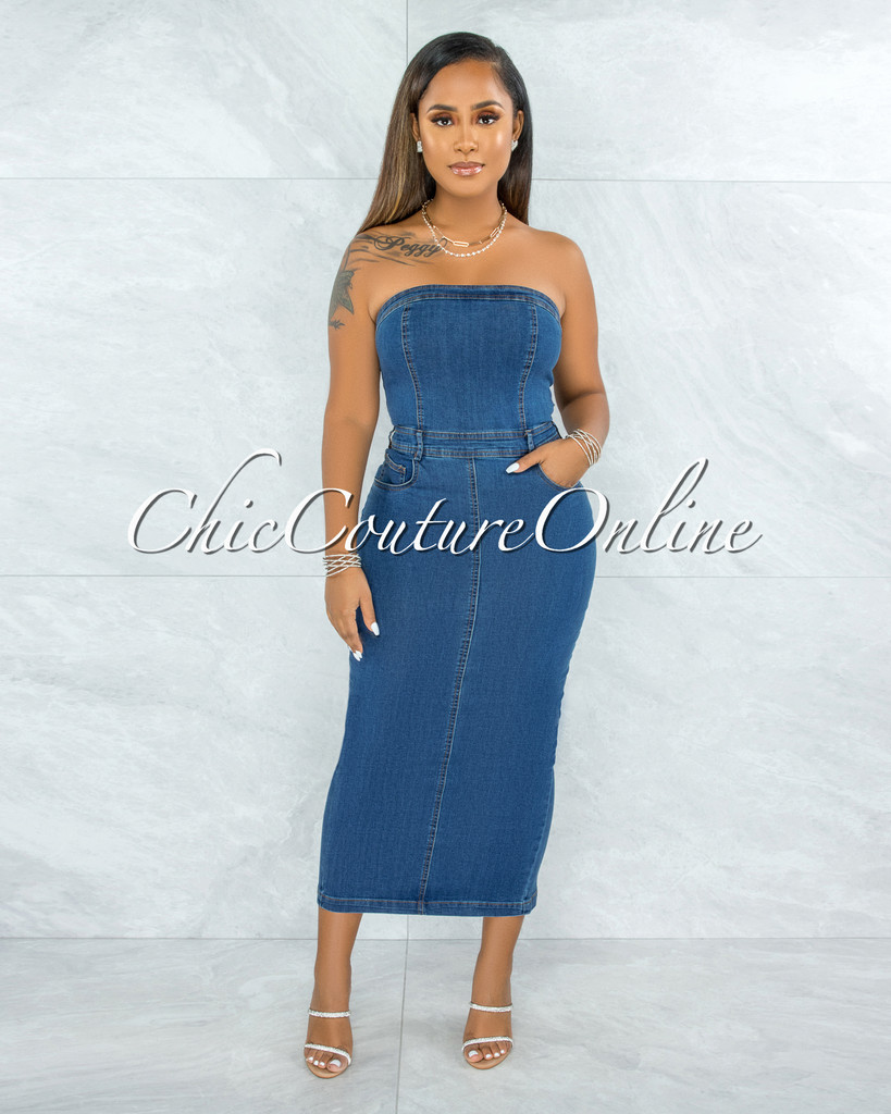 Ratnia Blue Denim Strapless Fitted Midi Dress