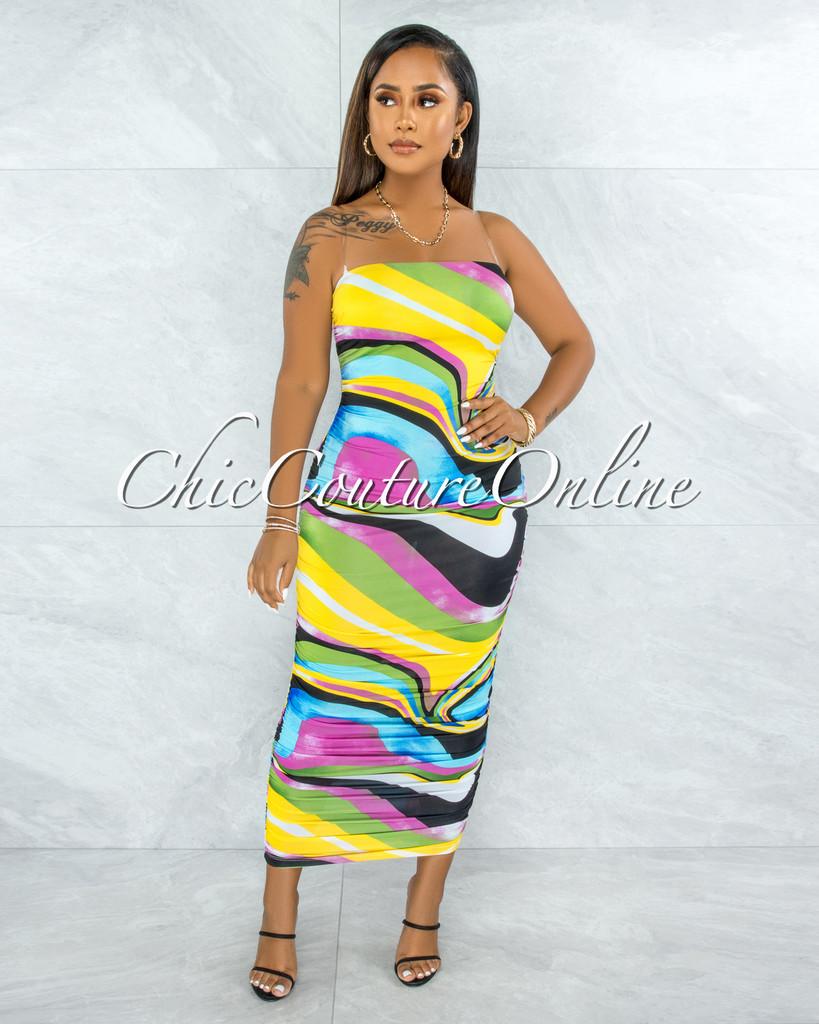 Naenia Multi-Color Retro Print Maxi Ruched Dress