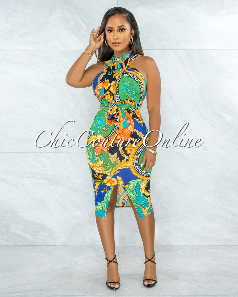 Eadlin Green Multi-Color Print Halter Self-Tie Midi Dress