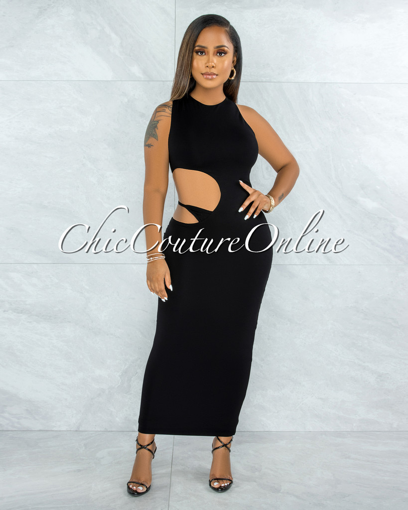 Jubilee Black Double Lined Cut-Out Side Maxi Dress
