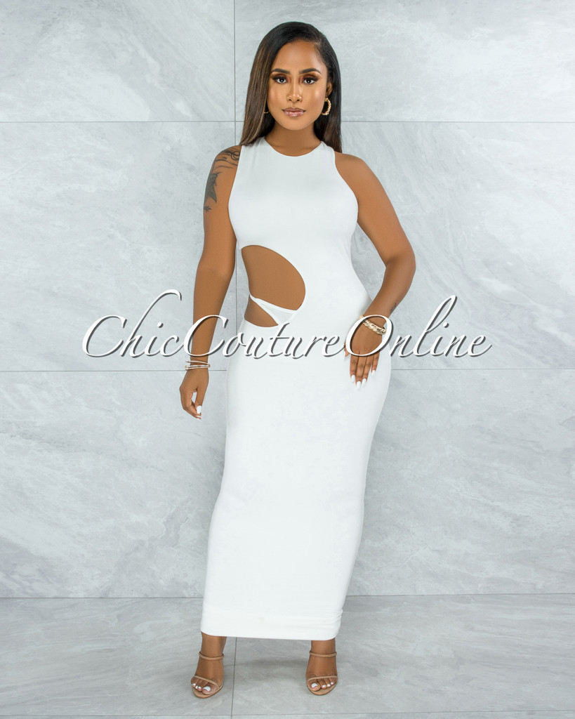 Jubilee Off-White Double Lined Cut-Out Side Maxi Dress
