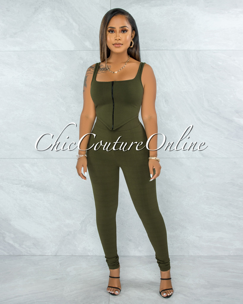 Shabnan Olive Black Zipper Top & Leggings Ribbed Set