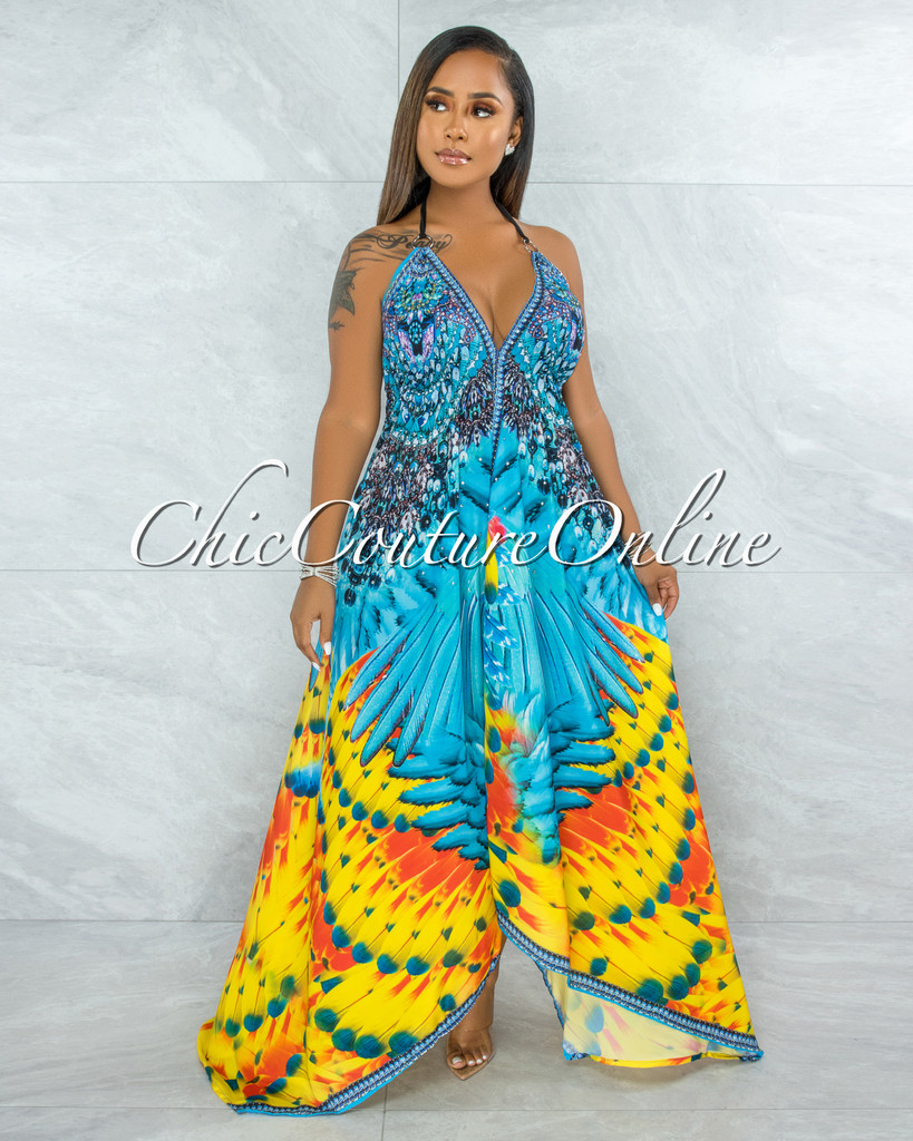 Aurelia Blue Multi Print Rhinestones Asymmetrical Maxi Dress