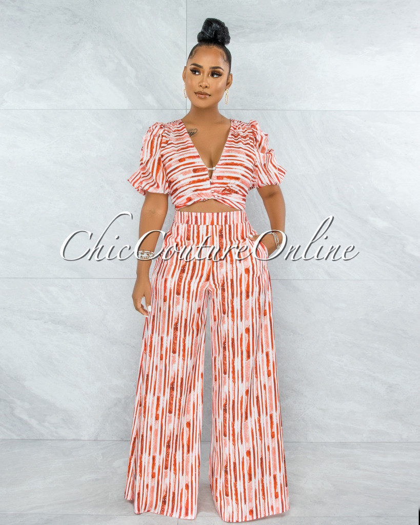 Gamble Orange White Bubble Sleeves Top & Wide Pants Set