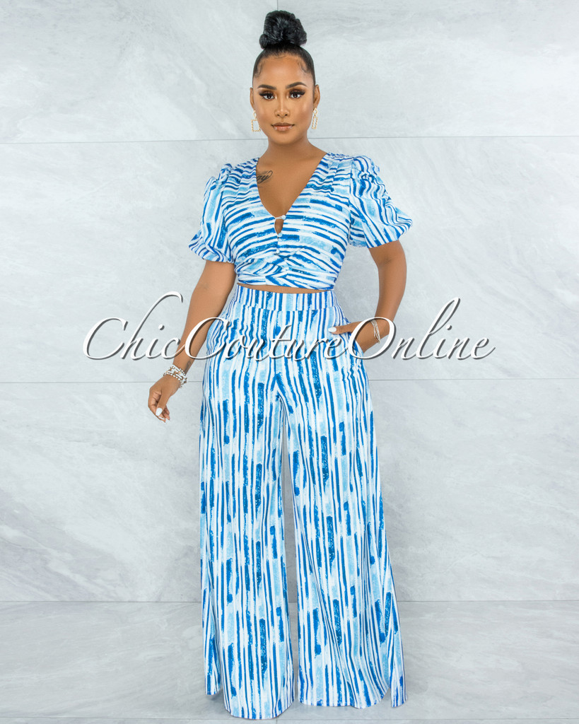 Gamble Blue White Bubble Sleeves Top & Wide Pants Set