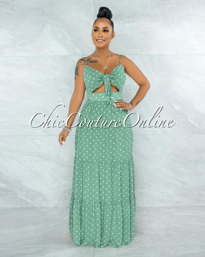 Hilton Sage White Polka Dots Cut-Out Front Tie Maxi Dress