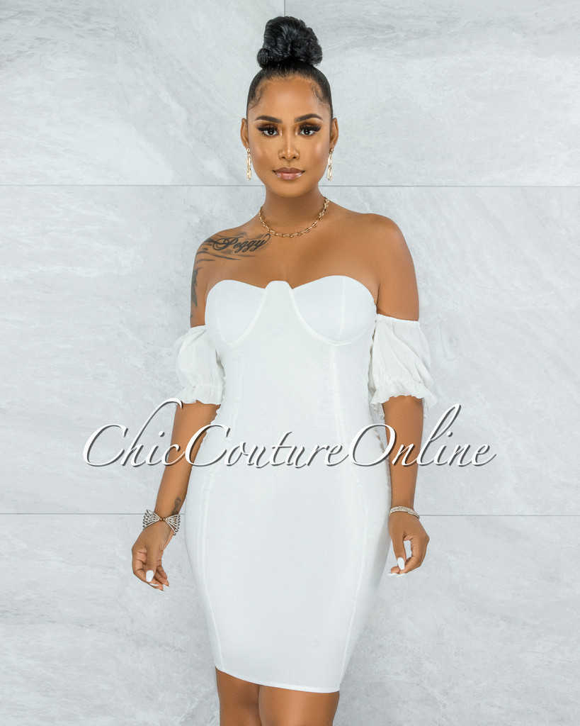 Kealoha Off-White Padded Cups Bubble Sleeves Mini Dress
