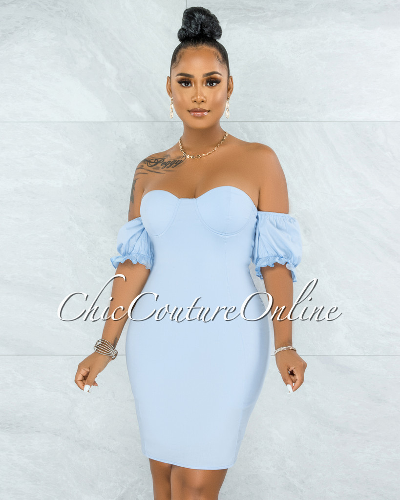 Kealoha Baby Blue Padded Cups Bubble Sleeves Mini Dress