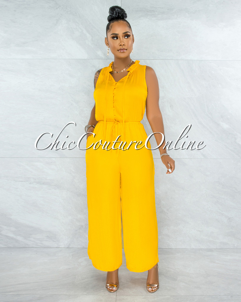 Johanna Mustard Yellow Front Buttons Wide Jumpsuit