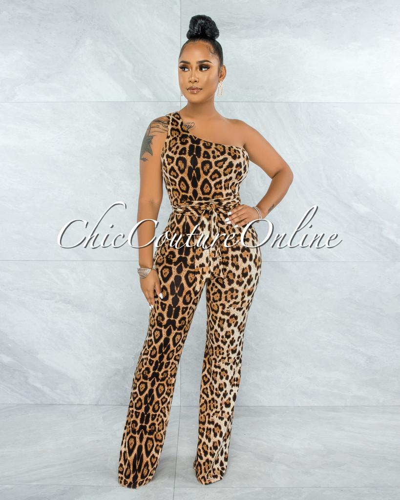 Loundis Leopard Print Single Shoulder Self-Tie Belt Jumpsuit