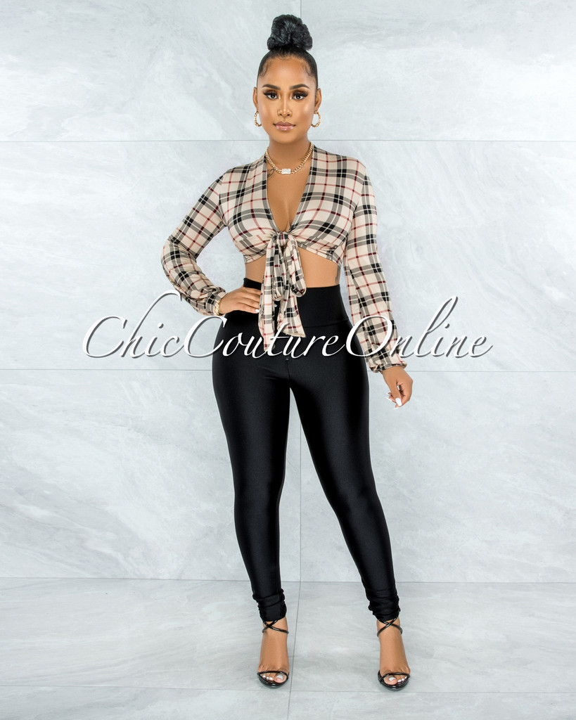 Naiser Nude Red Plaid Tie Top & Black Leggings Set