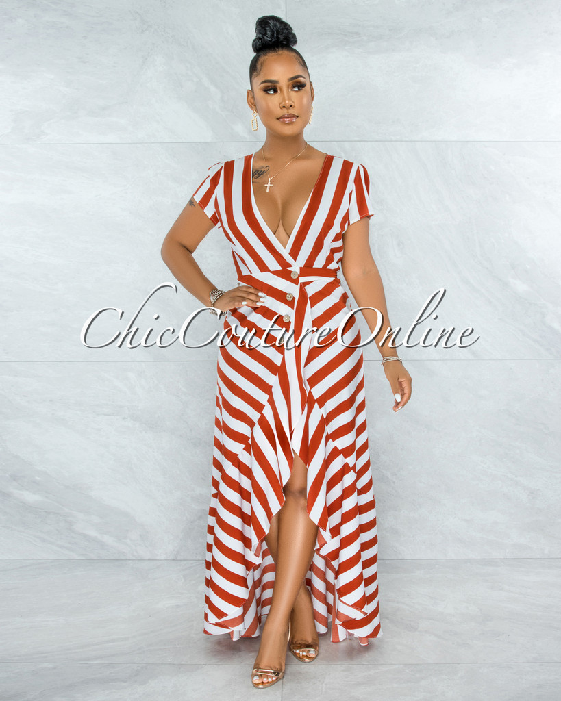 Otmar Orange White Stripes Wrap Ruffle Dress