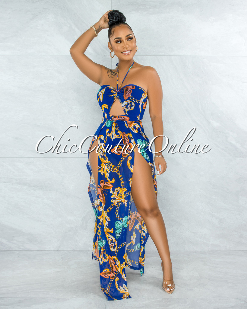 Latrelle Royal Blue Print Slit Legs Maxi Mesh Bodysuit Dress