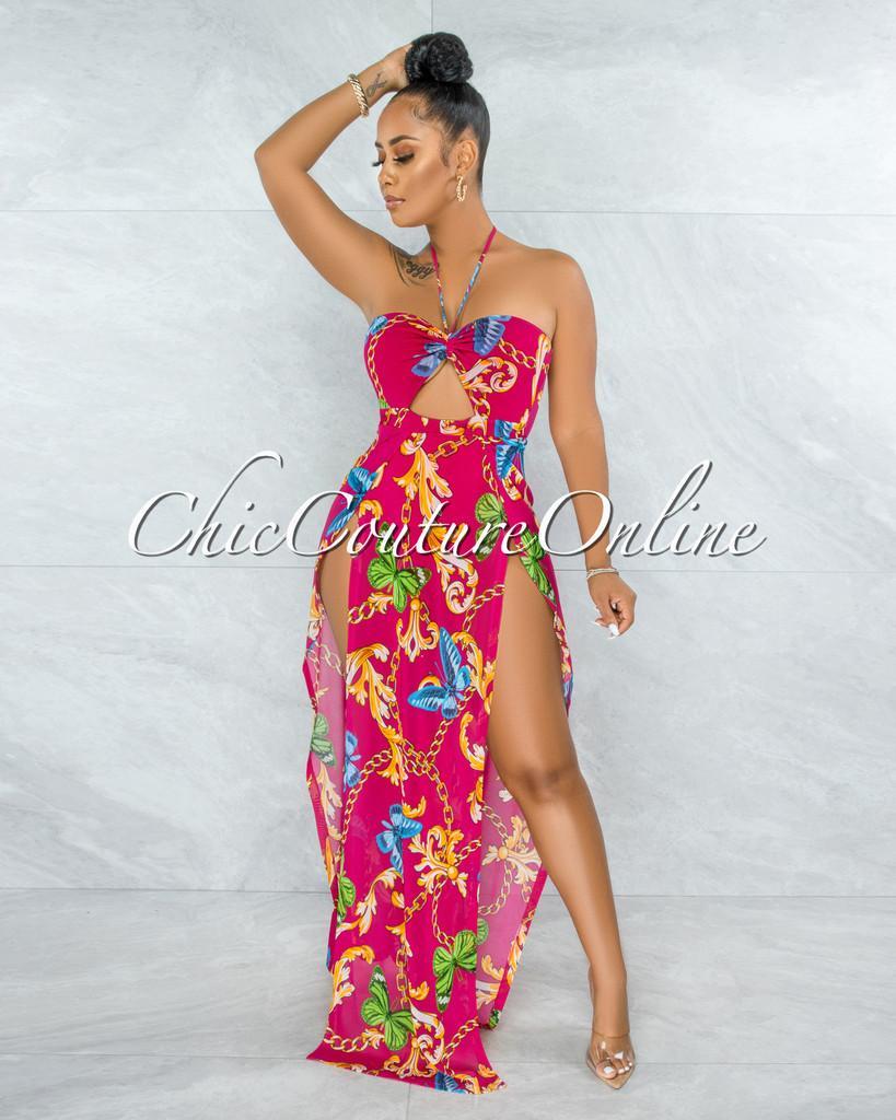 Latrelle Fuchsia Print Slit Legs Maxi Mesh Bodysuit Dress