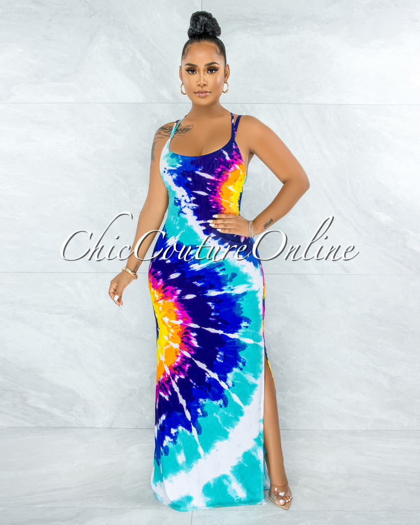 Rossie Blue Green Tie-Dye Criss-Cross Back Maxi Dress