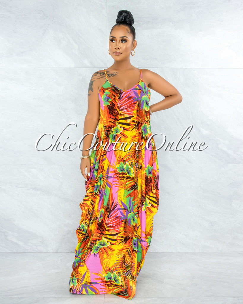 Bernie Yellow Orange Multi-Color Palm Print Maxi Shirt Dress
