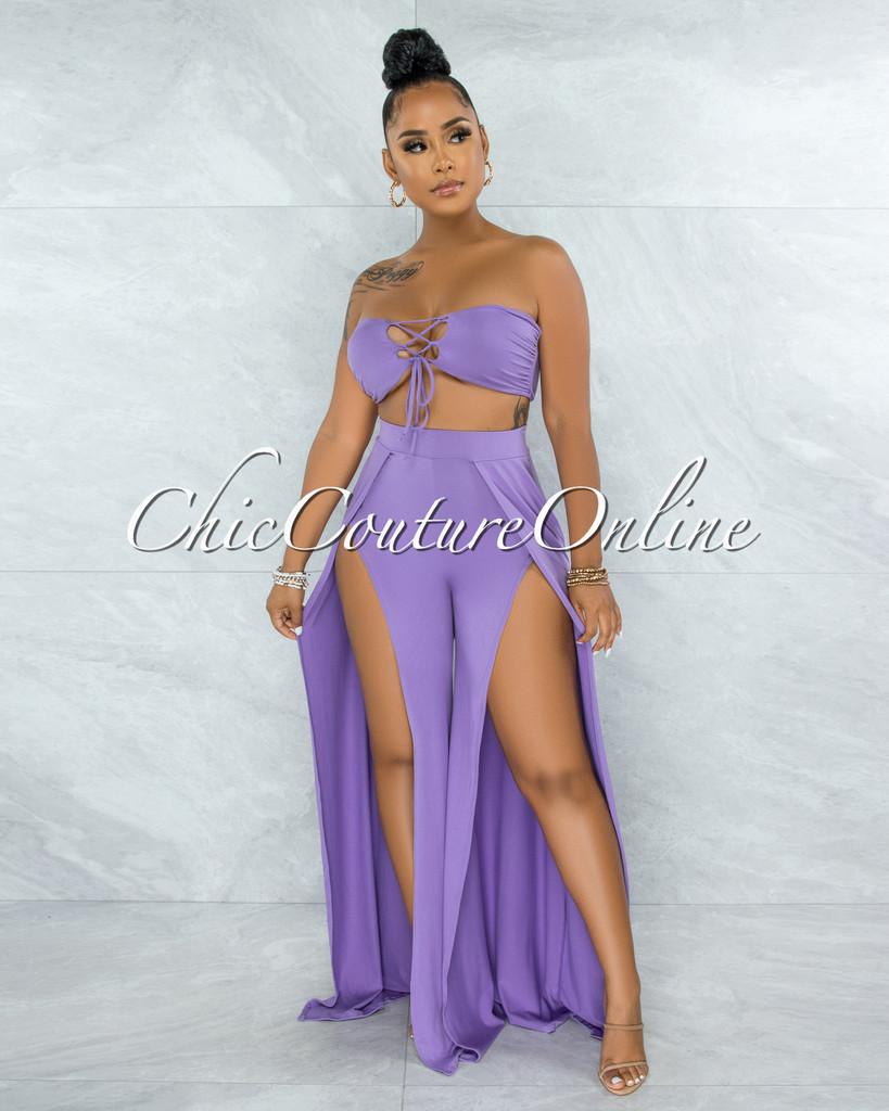Codigo Lavender Top & Wide Slit Legs Pants Set