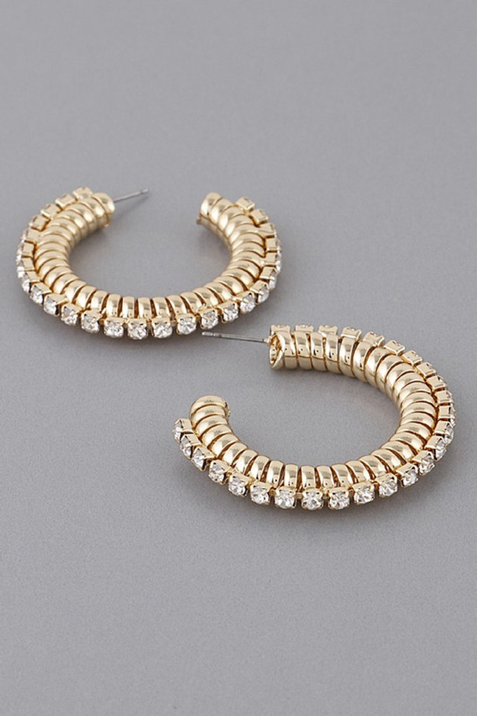 Marie Gold Bend Hoop Earrings