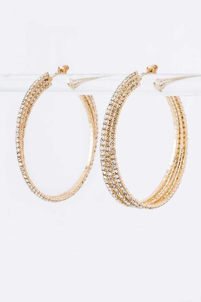 Mona Gold Pavé Layer Crystal Hoop Earrings