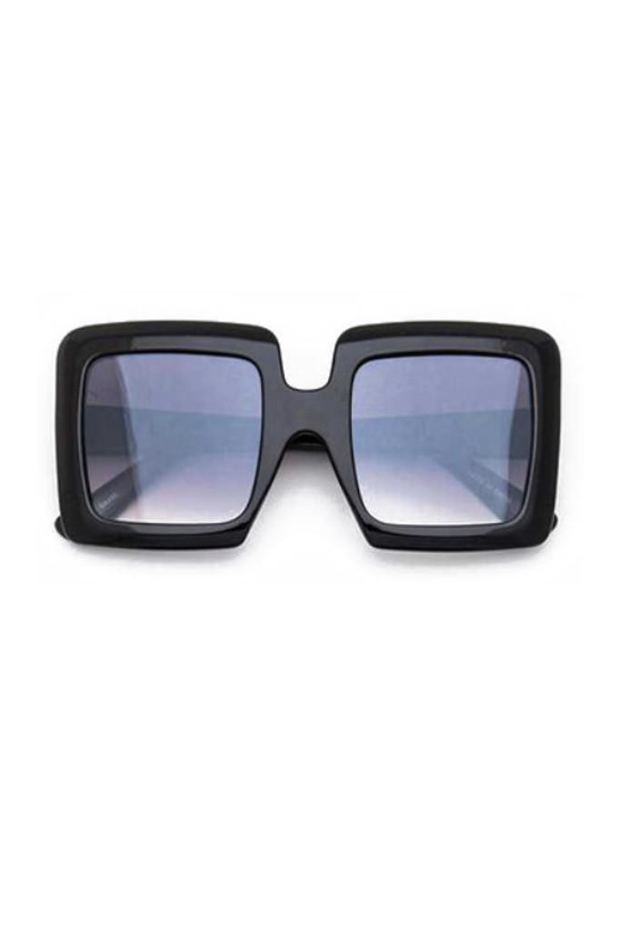 Idris Black Oversize Square Sunglasses
