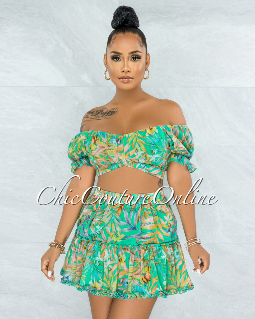 Neverland Green Floral Print Ruffle Skirt Two Piece Set