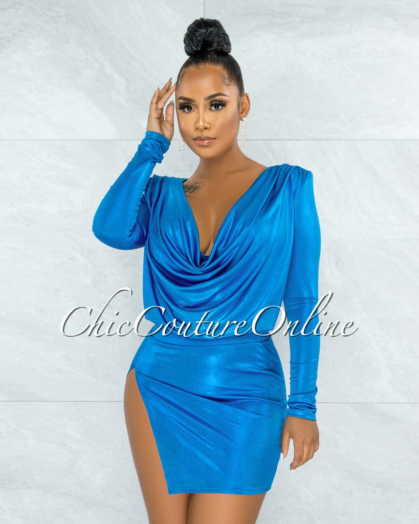 Sinmore Turquoise Shimmer Overlay Drap Top & Mini Skirt Set
