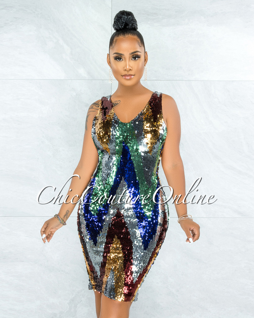 Vassi Multi-Color Sequins Chevron Midi Dress