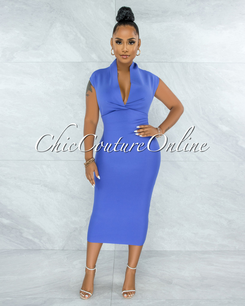 Fernie Periwinkle V Neck Draped Bandage Midi Dress