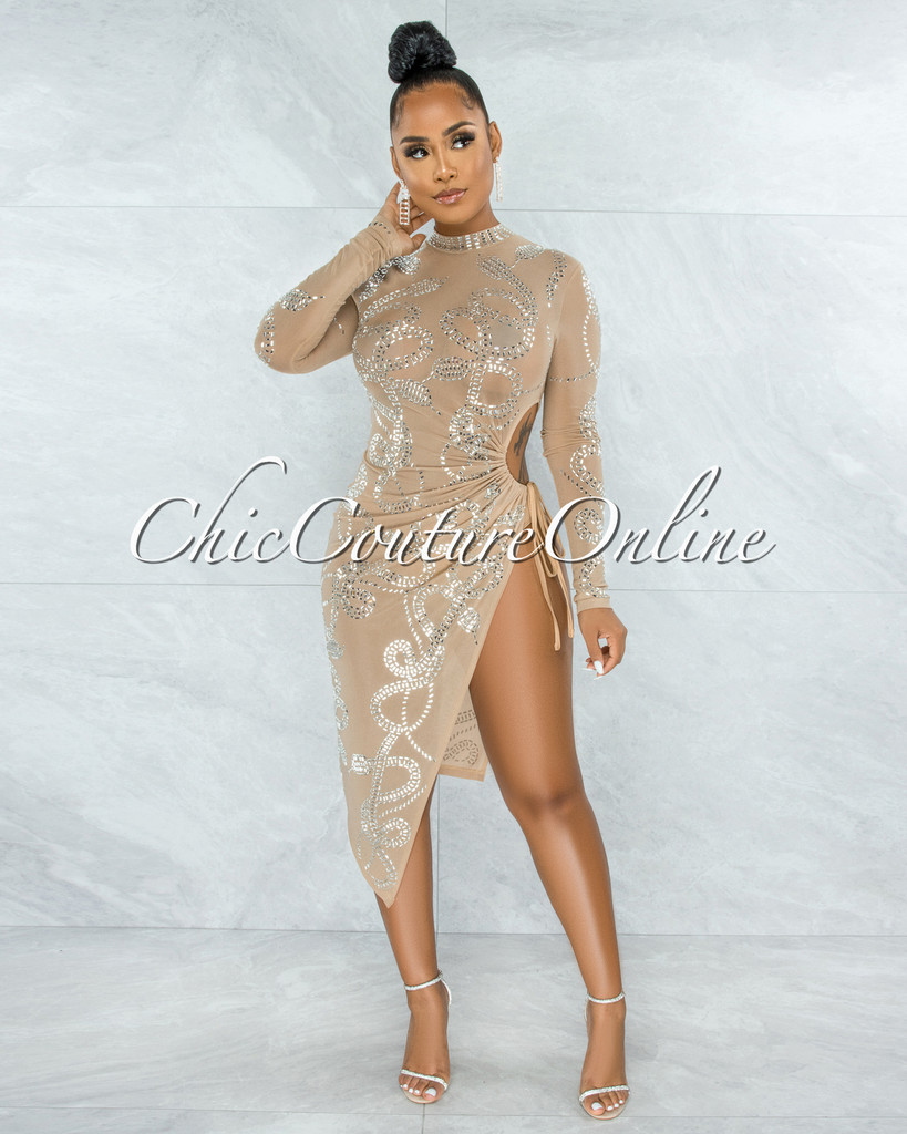 Duncan Nude Mesh Rhinestones Side Key-Hole Tie Midi Dress
