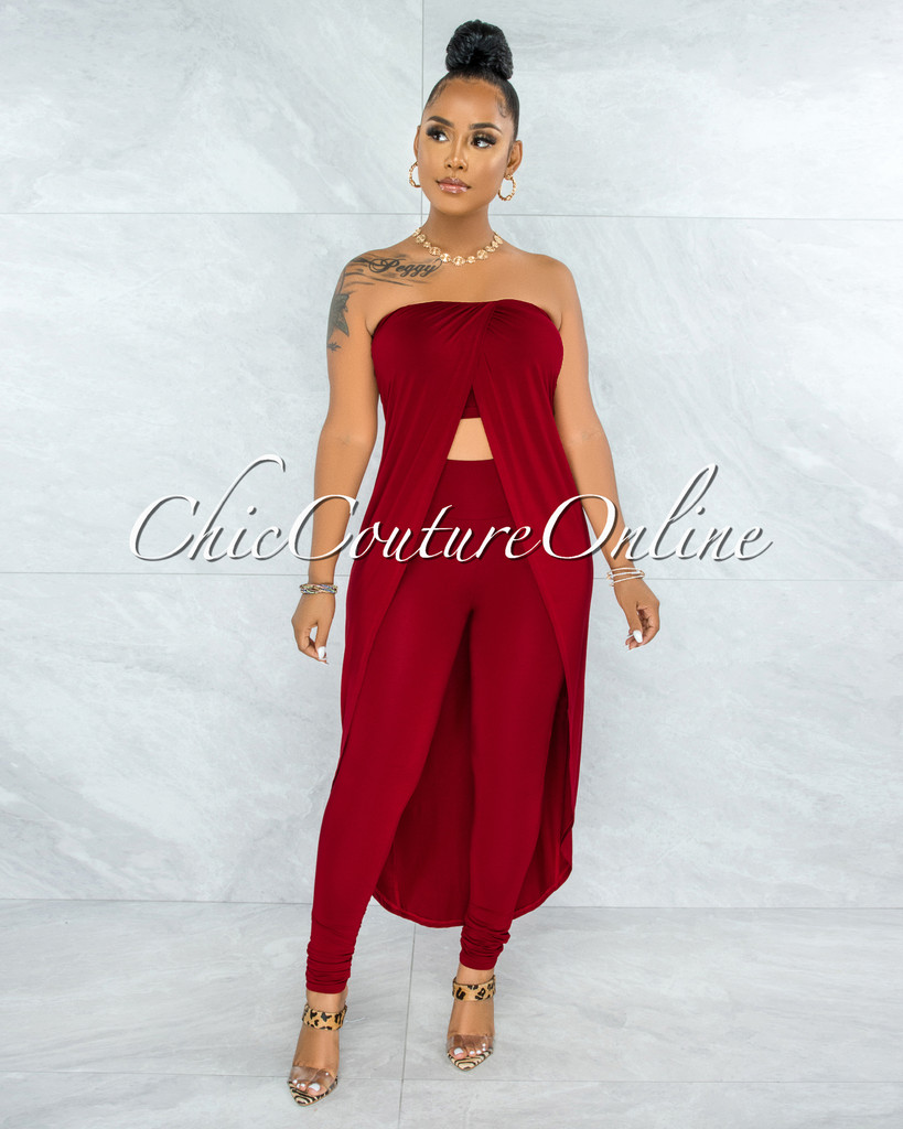 Folker Red Front Slit Long Top & Leggings Set